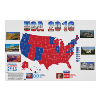 Poster Affiche d'élection présidentielle des Etats-Unis