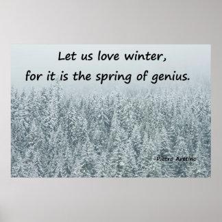 Poster Affiche des arbres Neige-couverts avec la citation