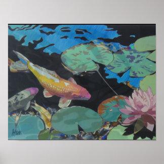 Poster Affiche d'étang de Koi