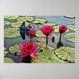 Poster Affiche d'étang de libellule