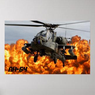 POSTER AFFICHE D'HÉLICOPTÈRE D'AH-64 APACHE