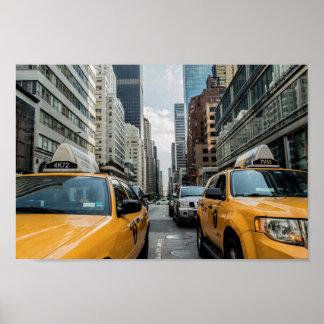 Poster Affiche d'horizon de taxi de New York