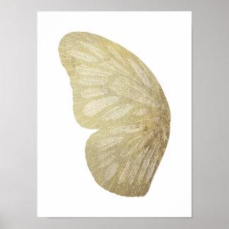 Poster Affiche d'illustration d'aile de papillon d'or