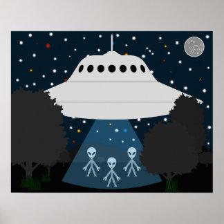Poster Affiche d'observation des étoiles de disque de vol