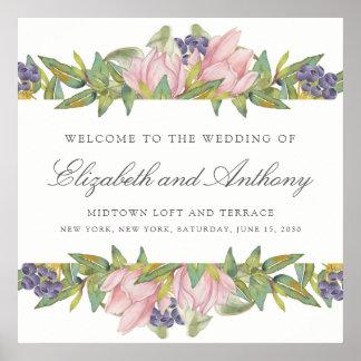 Poster Affiche douce de signe de mariage d'aquarelle de