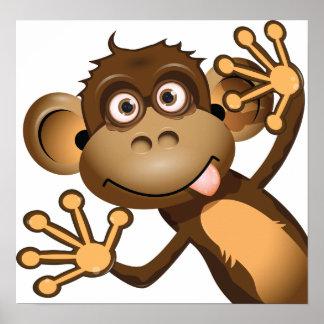 Poster Affiche drôle de singe