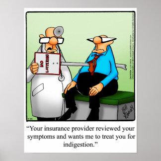 Poster Affiche drôle d'humour d'assurance-maladie