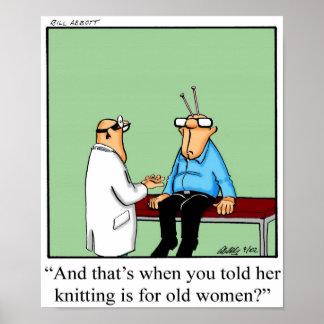Poster Affiche drôle Gifft d'humour de tricot