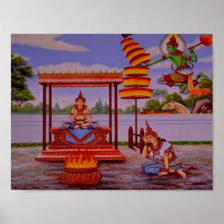 Poster affiche éclairée de Bouddha