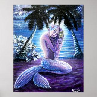 Poster Affiche éclairée par la lune de sirène