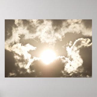 Poster Affiche en bronze brûlante de nuages de tempête de