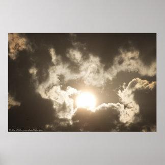 Poster Affiche en bronze de nuages de tempête de lever de