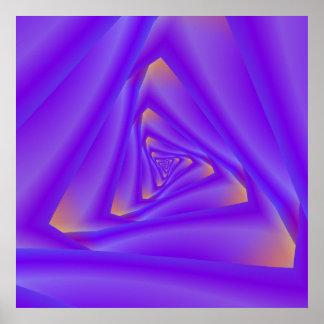 Poster Affiche en spirale pourpre de triangle