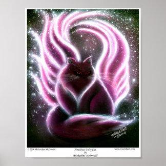 Poster Affiche féerique de chat d'améthyste