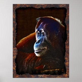 Poster Affiche femelle d'art de faune de grande singe