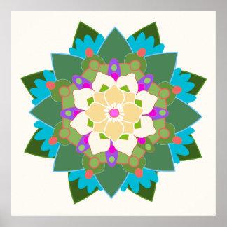 Poster Affiche florale colorée de mandala de fleur de