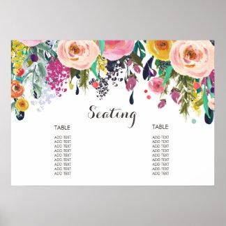 Poster Affiche florale peinte de diagramme d'allocation