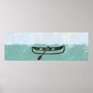 Poster Affiche géante d'aube de mer de bateau de pêcheur