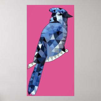 Poster Affiche géométrique de geai bleu