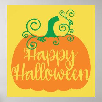 Poster Affiche heureuse de citrouille de Halloween