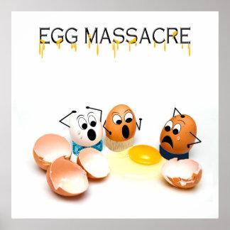 Poster Affiche humoristique de massacre d'oeufs - oeufs