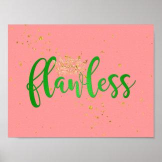 Poster Affiche impeccable de rose et de vert