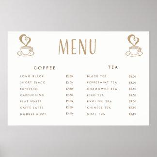Poster Affiche imprimée par coutume de menu des prix de