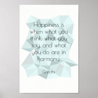 Poster Affiche inspirée géométrique de citation de Gandhi
