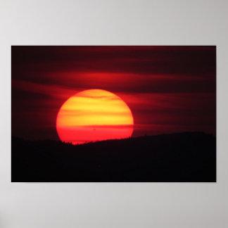 Poster Affiche intense de coucher du soleil