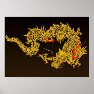 Poster Affiche japonaise traditionnelle de dragon