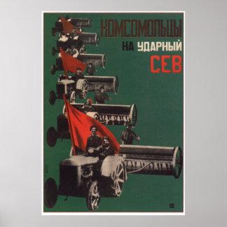 Poster Affiche kolkhozienne soviétique 1931 de propagande