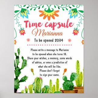 Poster Affiche mexicaine de capsule de temps de fiesta