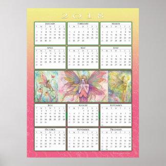 Poster Affiche mignonne de calendrier de la fée 2018