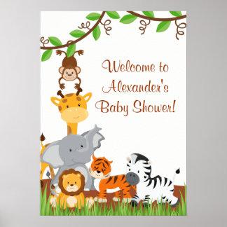 Poster Affiche mignonne de douche de bébé d'animaux de