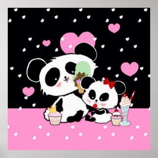 Poster Affiche mignonne de pique-nique d'ours panda