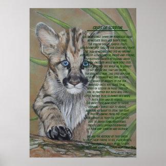 Poster affiche mignonne de poème d'art de faune de chaton