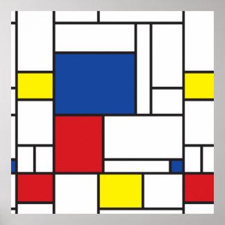 Poster Affiche minimaliste d'art moderne de Mondrian de