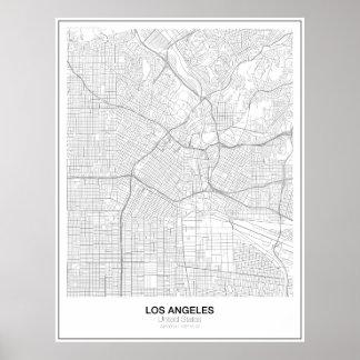 Poster Affiche minimaliste de carte de Los Angeles (style