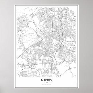 Poster Affiche minimaliste de carte de Madrid, Espagne