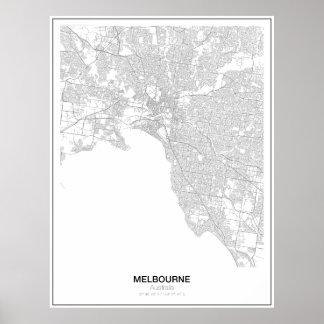 Poster Affiche minimaliste de carte de Melbourne,