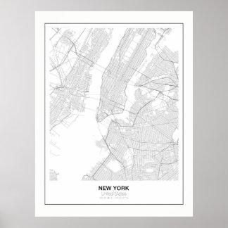 Poster Affiche minimaliste de carte de New York avec la
