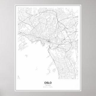 Poster Affiche minimaliste de carte d'Oslo, Norvège