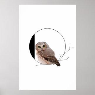 Poster Affiche minimaliste de hibou d'O