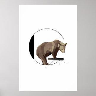 Poster Affiche minimaliste d'ours gris de G
