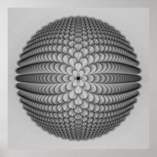 Poster Affiche monochrome de sphère