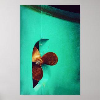 Poster Affiche nautique de bateaux du propulseur du