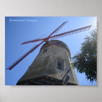 Poster Affiche néerlandaise de moulin à vent dans Solvang