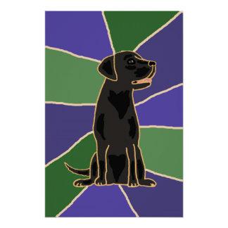 Poster Affiche noire d'art de labrador retriever