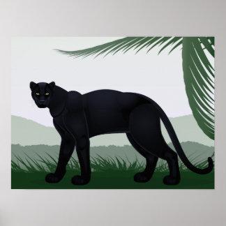 Poster Affiche noire de panthère de jungle