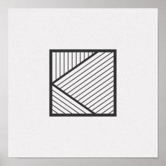 Poster Affiche noire et blanche carrée rayée minimaliste